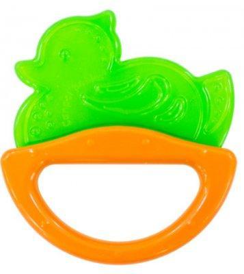 Погремушка с эластичным прорезывателем Canpol арт. 13/107, 0+ мес., цвет зеленый, форма уточка