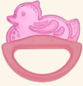 Погремушка с эластичным прорезывателем Canpol арт. 13/107, 0+ мес., цвет розовый, форма уточка термометры для воды canpol уточка 2 781