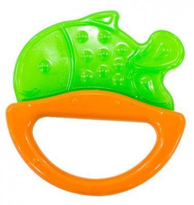 Погремушка с эластичным прорезывателем Canpol арт. 13/107, 0+ мес., цвет зеленый, форма рыбка canpol babies погремушка рыбка с прорезывателем оранжевый желтый