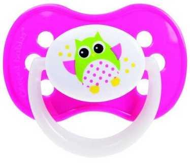 Купить Пустышка Canpol Owl симметричная, силикон, 6-18 мес., арт. 22/569 цвет розовый, для девочки, Пустышки