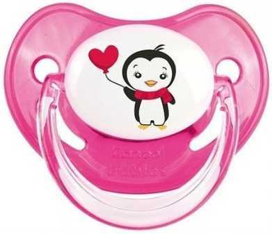 Купить Пустышка анатомическая Canpol Penguins силикон, 0-6 мес., арт. 22/583 цвет розовый, для девочки, Пустышки