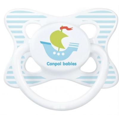 Купить Пустышка Canpol Summertime симметричная, силикон, 0-6 мес., арт. 23/460 рисунок Кораблик, для мальчика, Пустышки