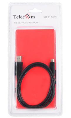 Кабель Type-C 1м VCOM Telecom TC405B круглый черный кабель microusb 1м vcom telecom cu283lmc круглый серебристый type c lighting