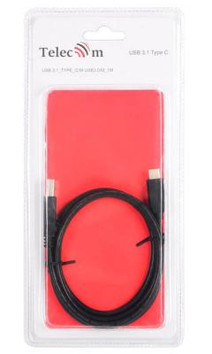 Кабель Type-C USB 3.0 1м VCOM Telecom TC401-1M круглый черный кабель lightning 1м wiiix круглый cb120 u8 10b