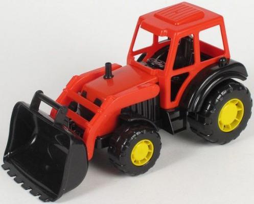 Трактор-погрузчик Полесье МАСТЕР красный 35301 полесье трактор мастер с полуприцепом лесовозом цвет синий желтый красный