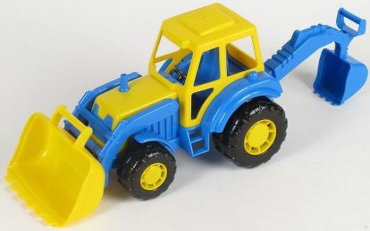 Трактор-экскаватор Полесье МАСТЕР желтый 35318 полесье трактор мастер с полуприцепом лесовозом цвет синий желтый красный