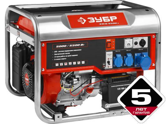 Генератор ЗУБР ЗЭСБ-5500-ЭА бензиновый 4-х тактный ручной и электрический пуск автоматический пуск электрический генератор и электростанция dde dpg 10553 e