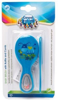Купить Щетка с погремушкой и гребнем Canpol арт. 56/156, 0+ мес., цвет голубой, Детские ножницы и расчески