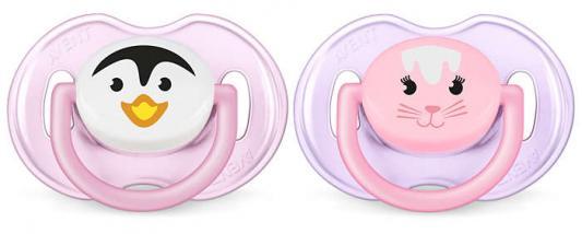 Пустышка Avent Classic Домашние животные 2 шт с рождения силикон розовый SCF182/13