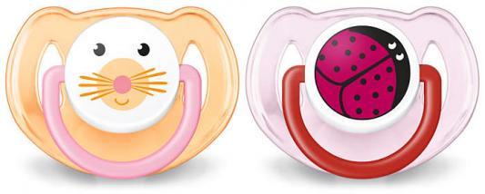 Купить Пустышка Avent Домашние животные силик., 6-18 мес., 2 шт., для девочки, арт. 86406, силикон, Пустышки
