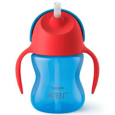 Купить Контейнер Avent Чашка-поильник с трубочкой 1 шт синий от 9 месяцев SCF796/01, Детская посуда для кормления