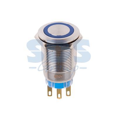Кнопка антивандальная O19 12В Фикс (5с) ON-OFF/OFF-ON подсв/синяя REXANT