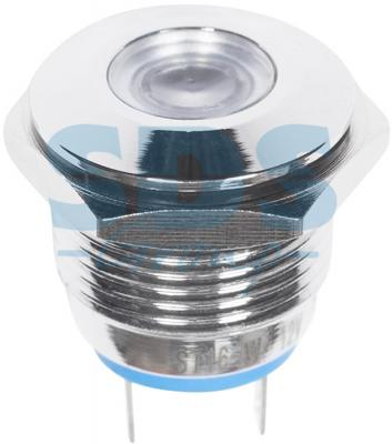 Индикатор REXANT Индикатор металл O16 12В подсв/белая 16 мм белый