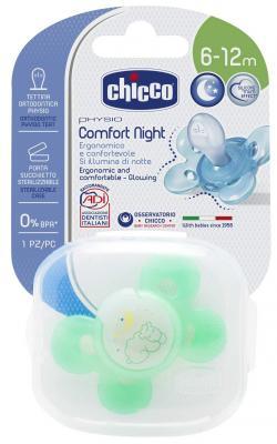 Пустышка Chicco Physio Comfort Lumi, 1 шт., 6-12 мес., силикон 310210202 chicco physio comfort lumi пустышка силиконовая с 12 месяцев 1 шт