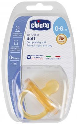 Купить Пустышка Chicco Physio Soft с рождения латекс желтый 310410136, для девочки, для мальчика, Пустышки