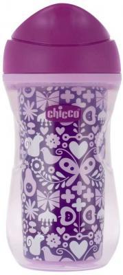 Чашка-поильник Chicco Active Cup (носик ободок), 14 +, 266 мл, 00006981100050, сиреневый/бабочки
