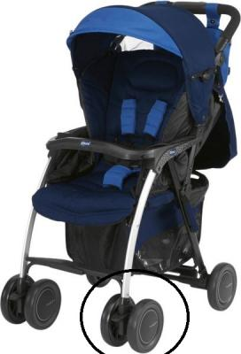 Купить Сдвоенное колесо для коляски Chicco Simplicity (черное), Запасные колеса