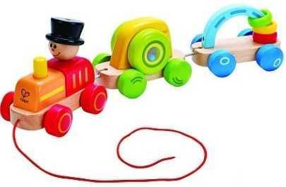 Каталка на шнурке HAPE Паровозик разноцветный от 18 месяцев дерево Е0431 таис игрушка каталка паровозик