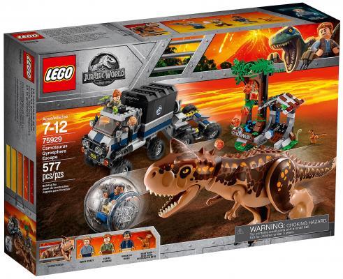 Конструктор LEGO Jurassic World: Побег в гиросфере от карнотавра 577 элементов конструктор lego jurassic world побег стигимолоха из лаборатории 222 элемента 75927