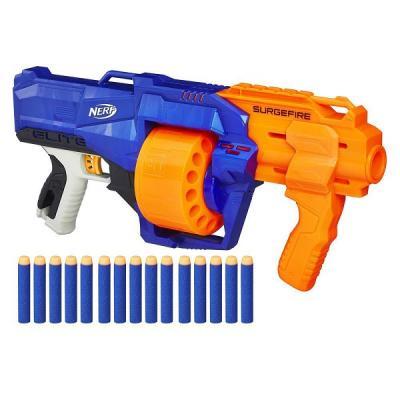 Бластер Hasbro Нерф Бластер Элит Сёрджфайр синий оранжевый E0011 hasbro nerf a0200 нерф бластер элит страйф