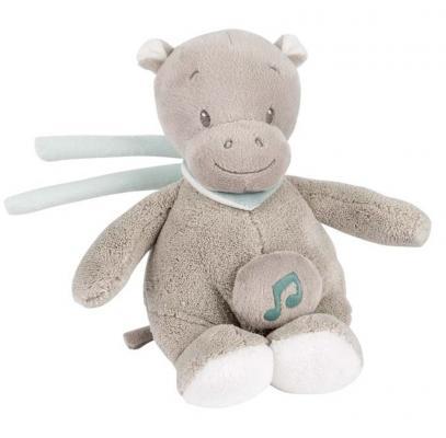 Интерактивная игрушка Nattou Soft Toy Mini Loulou, Lea & Hippolyte Бегемот от 6 месяцев серый 963107