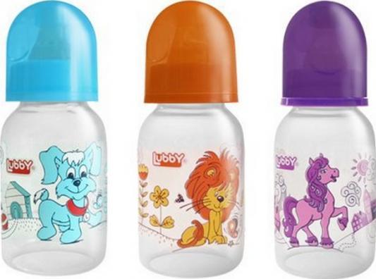 Купить Бутылочка с соской Веселые животные , от 0 мес., 125мл., классика, полипропилен, Lubby, разноцветный, для мальчика, для девочки, Бутылочки для кормления