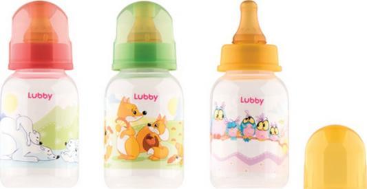 Купить Бутылочка с соской Веселые животные , от 0 мес., 125мл., полипропилен, Lubby, разноцветный, для мальчика, для девочки, Бутылочки для кормления