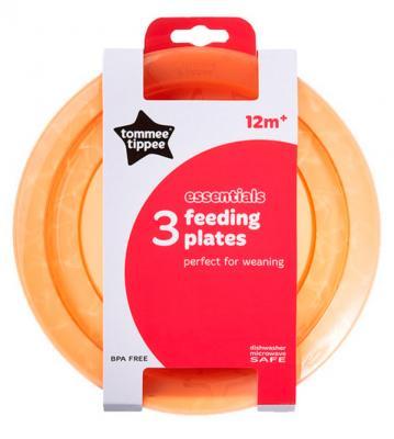 Тарелка Tommee Tippee Набор плоских тарелочек для начала кормления 3 шт оранжевый от 1 года тарелки и миски tommee tippee набор глубоких тарелочек tommee tippee с крышкой и ложкой 2 шт голубой