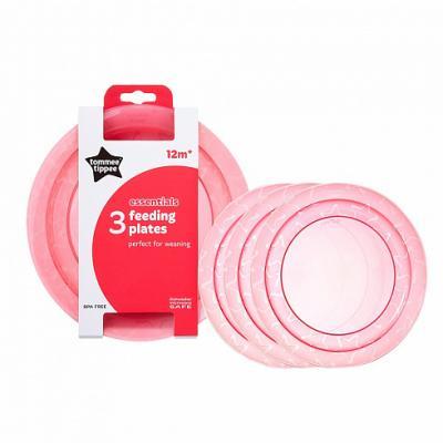 Тарелка Tommee Tippee Набор плоских тарелочек для начала кормления 3 шт розовый от 1 года 00-0015516 набор одноразовых нагрудников tommee tippee 20 шт