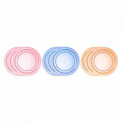 Тарелка Tommee Tippee Набор плоских тарелочек для начала кормления 3 шт синий от 1 года 00-0015516 набор ложек tommee tippee термоложечки 1 шт от 4 месяцев разноцветный 00 0009526