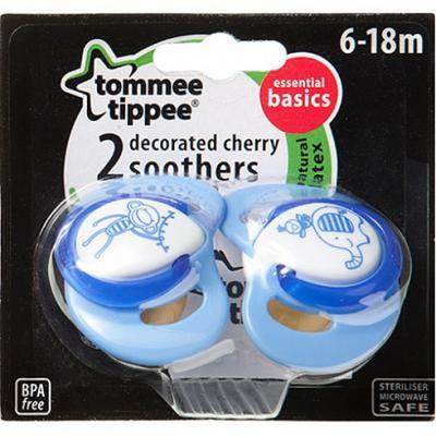 Купить Пустышка латексная ортодонтическая, светится в темноте, 2 шт.в уп., Tommee Tippee, для мальчика, Пустышки