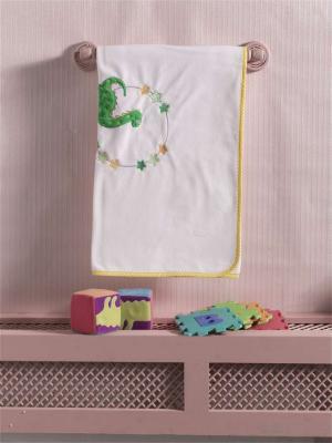Купить Плед флисовый Baby Dinos , 100% полиэстер, размер 80*120 см, KIDBOO, белый, желтый, 80 x 120 см, Одеяла и пледы