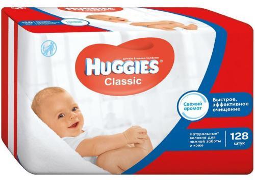 Салфетки влажные Huggies Classic детские 128 шт 2398565 huggies влажные салфетки детские элит софт дуо без отдушек 128 шт уп 5 упаковок