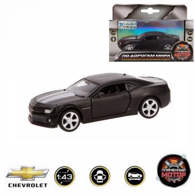 Автомобиль Пламенный мотор Chevrolet Camaro 1:43 черный 870296 сигвэй gyro с ручкой мотор 300вт колеса 10 черный