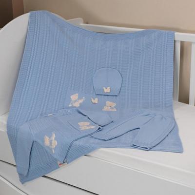 Купить Набор вязанный с аппликацией Мишка U14-04 95*120 см на 86 см, пряжа 100% акрил, KIDBOO, синий, 95 x 120 см, Одеяла и пледы