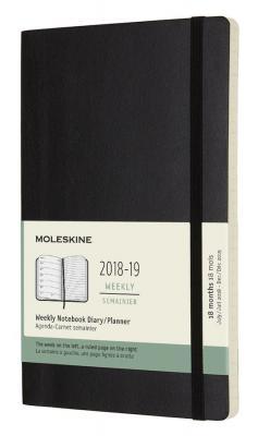 Еженедельник Moleskine ACADEMIC SOFT WKNT Large 130х210мм датир.18мес 208стр. мягкая обложка черный цена и фото