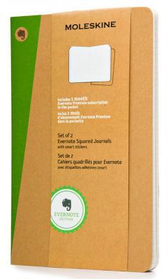 Блокнот Moleskine EVERNOTE SKQP417EVER Large 130х210мм обложка картон 80стр. клетка бежевый (2шт)
