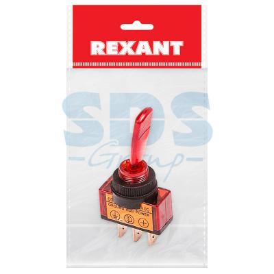 Тумблер 12V 20А (3c) ON-OFF однополюсный с красной подсветкой (ASW-13D) REXANT Индивидуальная упаковка 1 шт тумблер 12v 20а 3c on off однополюсный с красной led подсветкой asw 07d rexant индивидуальная упаковка 1 шт