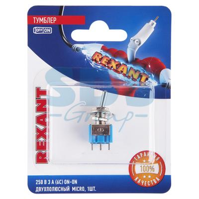 Тумблер 250V 3А (6c) ON-ON двухполюсный Micro (MTS-202) REXANT (блистер) 5pcs toggle switch 6a 125vac 6 pin dpdt on on mini toggle switch switches mts 202 m126 hot sale