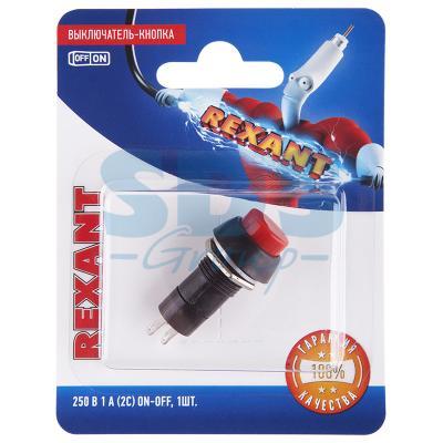 Выключатель-кнопка 250V 1А (2с) ON-OFF красная (PBS-11А) REXANT (блистер)