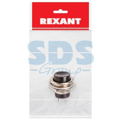 Выключатель-кнопка металл 220V 2А (2с) (ON)-OFF O16.2 черная (RWD-306) REXANT Индивидуальная упаковка 1 шт
