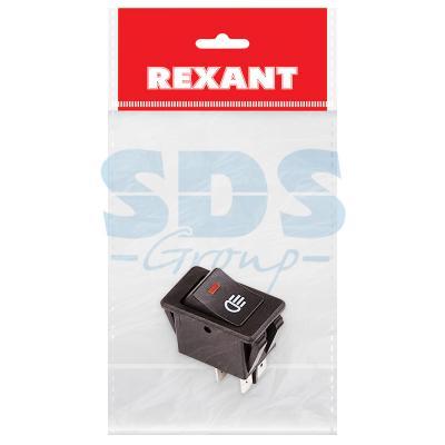 Выключатель клавишный 12V 35А (4с) ON-OFF с красной подсветкой (ASW-17D) REXANT Индивидуальная упаковка 1 шт