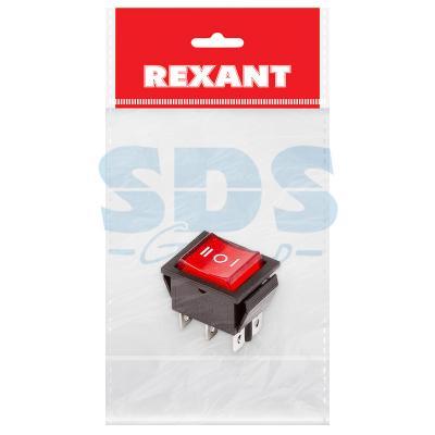 Выключатель клавишный 250V 15А (6с) ON-OFF-ON красный с подсветкой и нейтралью (RWB-509, SC-767) REXANT Индивидуальная упаковка 1 шт hands free black 1 7m cable stomp foot pedal on off switch ac 250v 10a tfs 1
