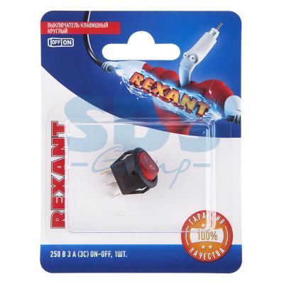 Выключатель клавишный круглый 250V 3А (3с) ON-OFF красный с подсветкой Micro (RWB-106, SC-214) REXANT (блистер)