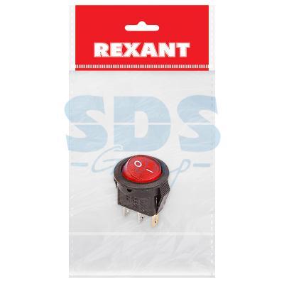 Выключатель клавишный круглый 250V 3А (3с) ON-OFF красный с подсветкой Micro (RWB-106, SC-214) REXANT Индивидуальная упаковка 1 шт тумблер 250v 3а 3c on on однополюсный micro mts 102 rexant индивидуальная упаковка 1 шт