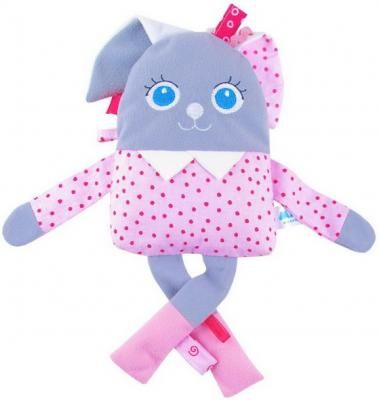 Мягкая игрушка заяц МЯКИШИ Мой Зайчик текстиль белый серый розовый