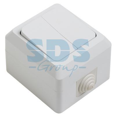 цена на Выключатель двуклавишный влагозащищенный открытой установки, 10 А, IP 44 PROCONNECT