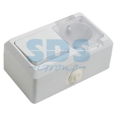 цена на Выключатель одноклавишный + розетка влагозащищенная для открытой установки,с\\з ,с крышкой,10 А,IP 44 PROCONNECT