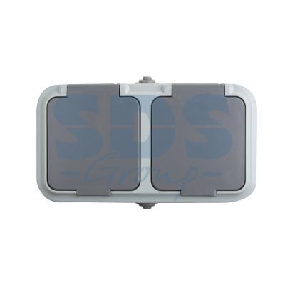 Розетка штепсельная двухместная влагозащищенная для открытой установки Rexant IP54,с заземлением, 16 А