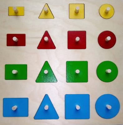 Мозаика-вкладыш Геометрические формы, 16 деталей развивающая игрушка крона мозаика вкладыш африка 22 элемента 143 016